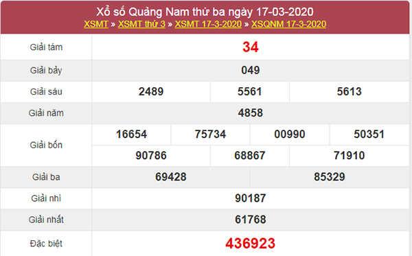 Soi cầu KQXSQNM 24/3/2020 - Soi cầu Quảng Nam thứ 3