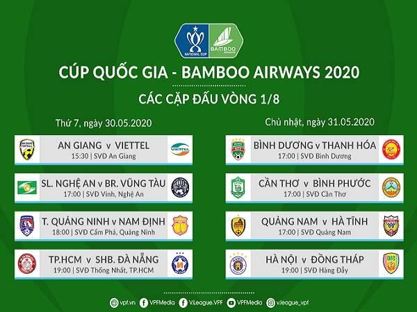 Bóng đá Việt Nam chiều 27/5: Xác đinh các cặp đấu vòng 1/8 Cup Quốc gia 2020