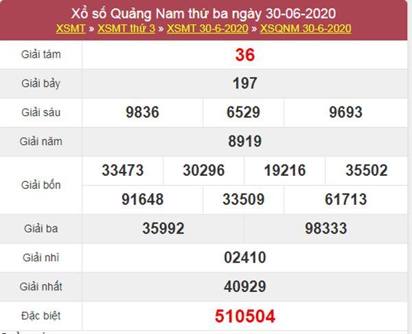 Thống kê XSQNM 7/7/2020 chốt KQXS Quảng Nam thứ 3