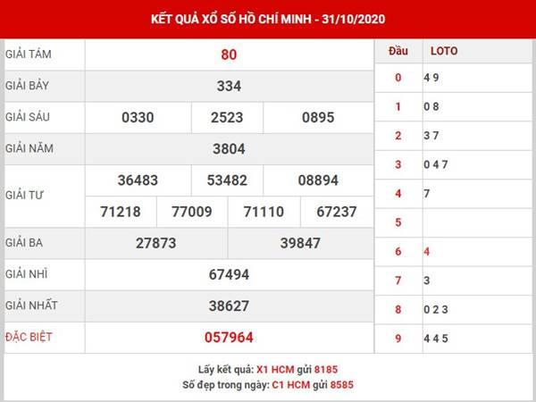 Thống kê kết quả XSHCM thứ 2 ngày 2-11-2020