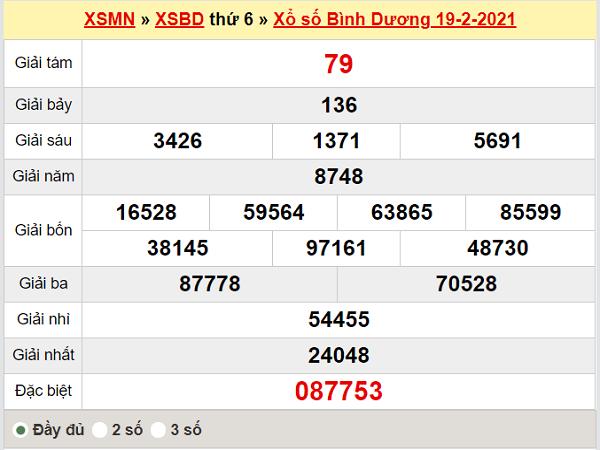 Thống kê XSBD 26/2/2021