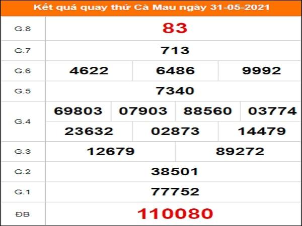 Quay thử xổ số Cà Mau ngày 31/5/2021