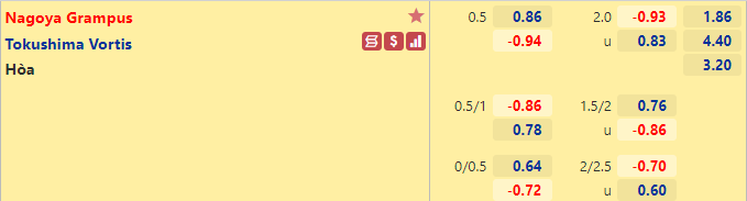 Tỷ lệ kèo bóng đá giữa Nagoya Grampus vs Tokushima Vortis